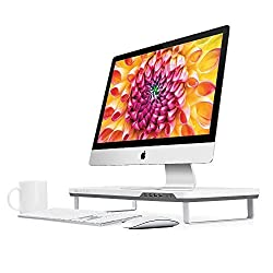 Satechi F3 Smart Monitor Stand with Four USB 3.0 Ports and Headphone / Microphone Extension Ports (White)