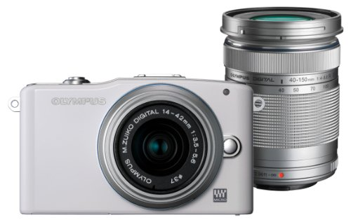 Olympus Pen E-PM1 Compact System Camera Double Zoom Kit - White (includes M.ZUIKO Digital 14 -42mm II R and M.ZUIKO Digital 40 -150mm Lenses)