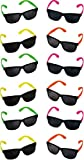 Rhode Island Novelty Neon 80s Style Party Sunglasses with Dark Lens (Pack of 12) (Discontinued by manufacturer)