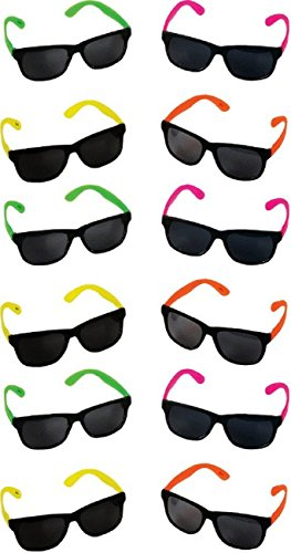 12 Pack Rhode Island Novelty Neon 80's Style Party Sunglasses