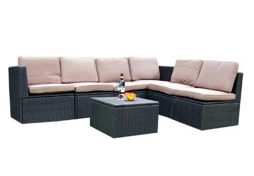 Gartenmöbel 7tlg. Sitzgruppe Poly Rattan Lounge Garten Garnitur ecru