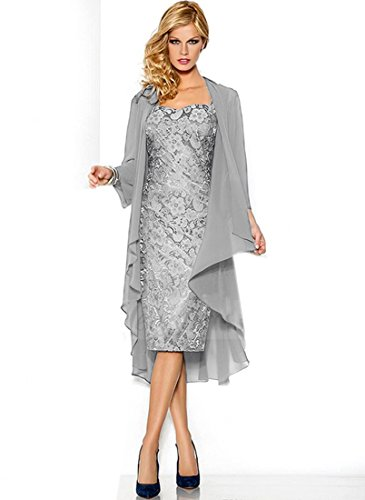 Belle House Lace Chiffon Mother Of The Groom Dresses Tea Length