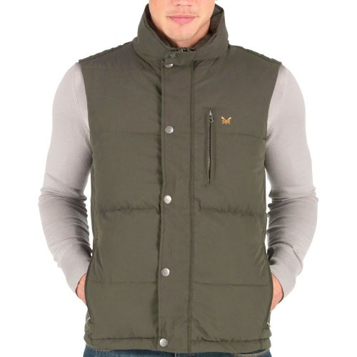 Crew Clothing Mens Etwall Gilet Olive