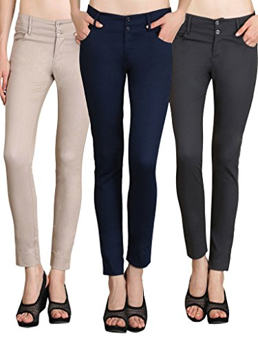 NGT Womens Pack Of Beige, Navy Blue And Grey Formal Trousers In Special Quality.