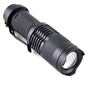 Adjustable Focus Zoom CREE Q5 LED Bright Mini Flashlight Torch Hiking Black