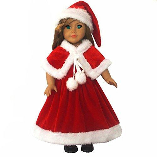 Eubuddy @ 3Pc Christmas Red Color Hat+ Shawl+ Dresses Fits 18 Inch Girl Dolls