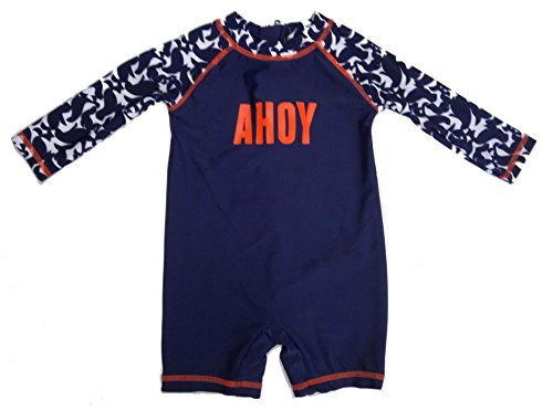[long Sleeve Swimming Costume Floral Swimsuits Baby Girls & Boys (0-3Month, Blue)] (0-3 Month Swimming Costumes)