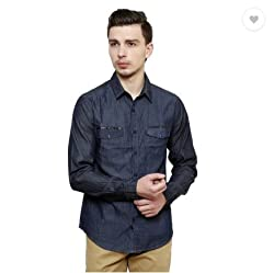 Jovi Men's Cotton Denim Casual Shirt (MCDSDB_XL_Blue_XL)