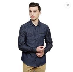 Jovi Men's Cotton Denim Casual Shirt (MCDSDB_M_Blue_Medium)
