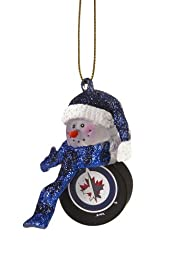 Winnipeg Jets Snowman with Striped Scarf Christmas Ornament
