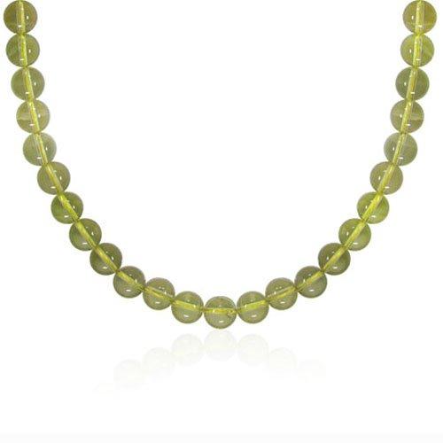 10mm Round Lemon Quartz Bead Necklace, 16+2