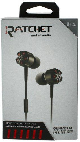 Ihip Ratchet Black Metal Audio Noise Isolating Earphones Ip-Ratc-Bk