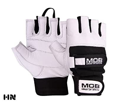 LEATHER WEIGHT LIFTING PADDED GLOVES (M2SS) FITNESS TRAINING CYCLING GYM SPORTS DOUBLE STRAP Military Men's Driving Motorcycle by MOB MAKE OR BREAK
