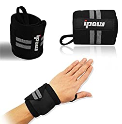 Ipow Adjustable Weight Lifting Training Wrist Straps Support Braces Wraps Belt Protector for Weightlifting Powerlifting Bodybuilding - For Women and Men,set of 2