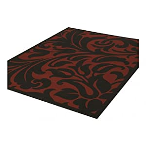 6 Sizes Available - Element - Warwick Red/Black - Good Quality Floral Rug from Flair Rugs