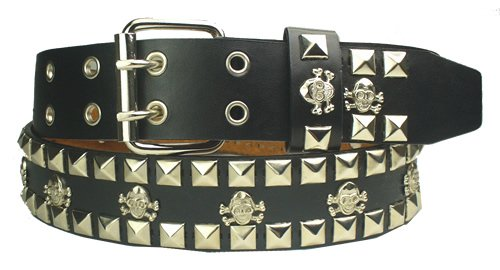 Mens Leather Skull Crossbones Stud Black Belt 3X 50 52