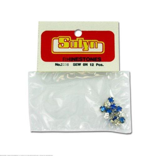 24 12 pc sapphire sew-on rhinestones