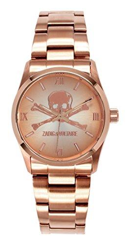 Zadig & Voltaire ZV 001/2TM Rock Unisex Watch Analogue Quartz, Pink Dial, Pink Plated Steel Strap