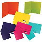 JAM Paper® Heavy Duty Plastic 2 Pocket School Presentation Folders (Back To School Deal!) - Assorted Fashion Colors - Pack of 6