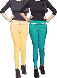 Xarans Stylish Beige & Kelly Green Cotton Lycra Zip Jegging Set of 2 Pcs