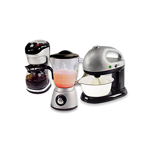 Kids Pretend Play Gourmet Kitchen Appliance 3 Piece Set Blender Coffee Maker And Mixer
