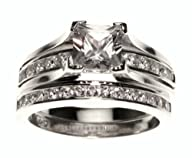 1 Carat Princess Cut Silver Wedding R…