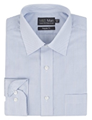 2in Longer Cotton Rich Easy to Iron Bengal Striped Shirt