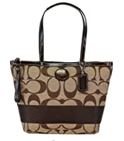 Coach 19046 Khaki Mahogany Signature Stripe Tote Nwt