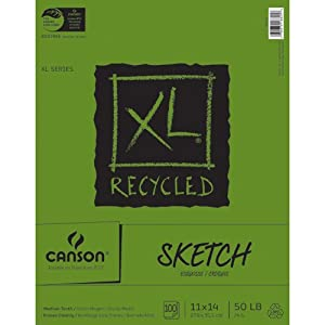 Canson 11-Inch by 14-Inch Extra Long Recycled Sketch Book, 100-Sheet