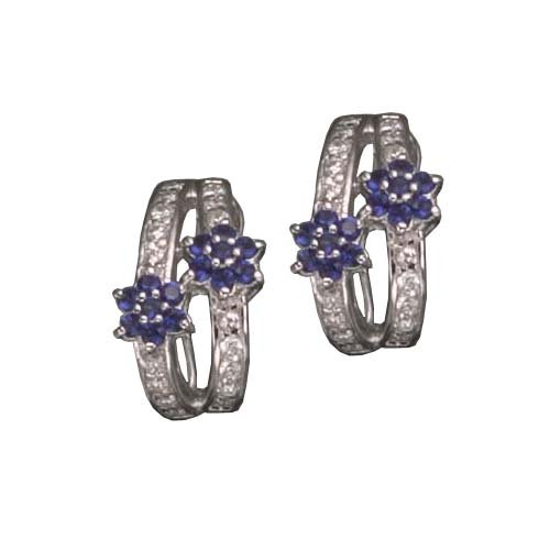 C.Z. AND SAPPHIRE RHODIUM PLATED (.925) STERLING SILVER EARRINGS (Nice Holiday Gift, Special Black Firday Sale)