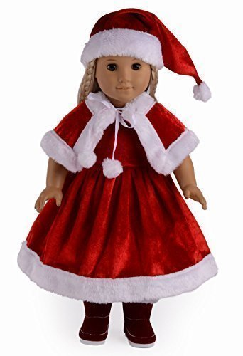 "Santa Suit Christmas Dress Doll Clothes for 18"" American Girl Dolls - 1"