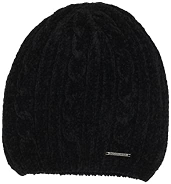 Isotoner Women's Chenille Pull On Hat, Black, One Size