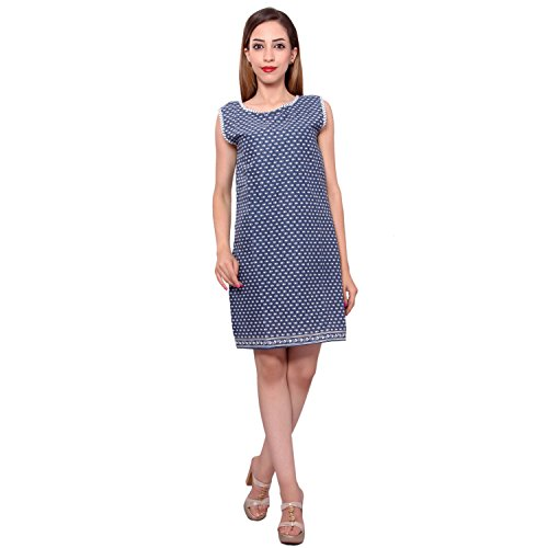 MSONS Women's Blue & White Short Kurti Dress in Cotton Fabric  available at amazon for Rs.298