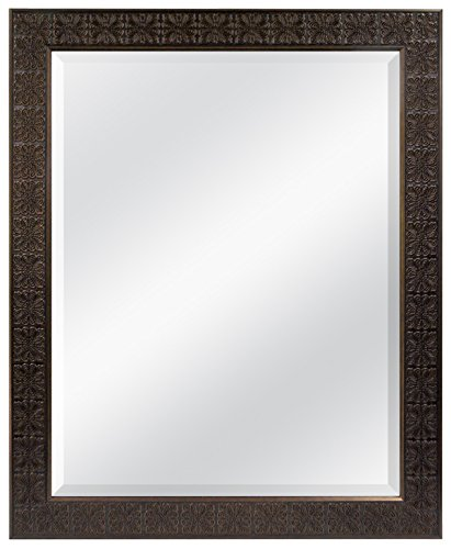 MCS 22 by 28-Inch Beveled Mirror, 28 by 34-Inch, Medallion Finish, Stamped Bronze