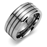 Beveled Edge Triple Grooved 9mm Comfort Fit Mens Tungsten Carbide Wedding Band Ring Sizes 8 to 13 Free Shipping
