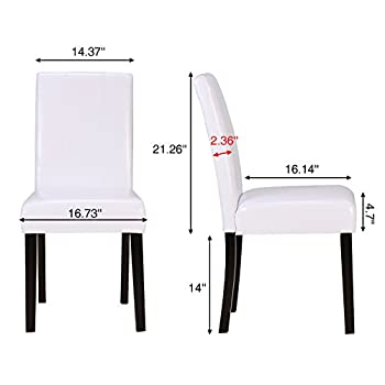 ZXBSWELE Set of 4 Leatherette Solid Wood Parson Chair for Dining Room, Living Room, Patio, White