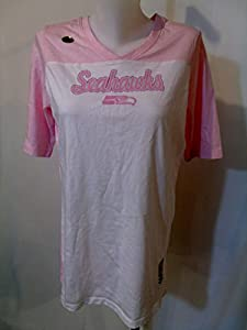 Seattle Seahawks Ladies Tee-Shirt Pink and White X-Large by NFL