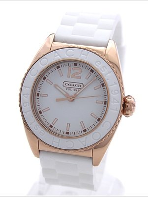 Coach Andee Boyfriend White Rubber Strap Watch 14501407
