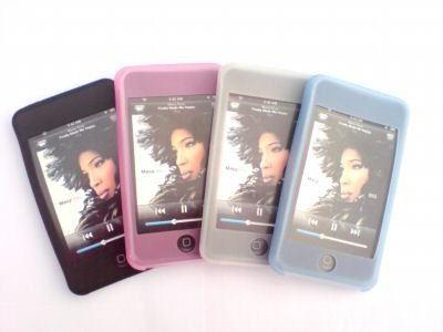 4 BOX SET - IPOD TOUCH 8GB & 16GB SILICON SKIN CASE - BLACK PINK WHITE BLUE