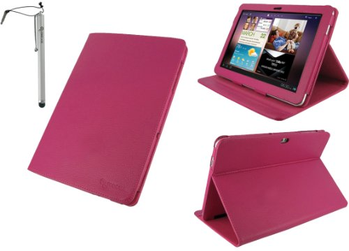 rooCASE 2n1 Multi-Angle (Magenta) Leather Folio Case Cover and Capacitive Stylus Pen for Samsung GALAXY Tab 10.1 Wi-Fi (NOT Compatible with Verizon 4G LTE)
