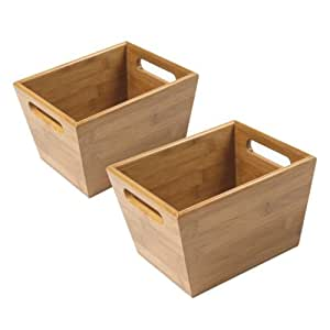 Amazon Com This 2 Piece Bamboo Wood Bin Set Are Perfect