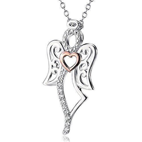 """Ala d' Angelo in Argento Sterling 925bicolore con zirconia cubica a forma di cuore ciondolo collana rolò, 16""""+ 2"""""""