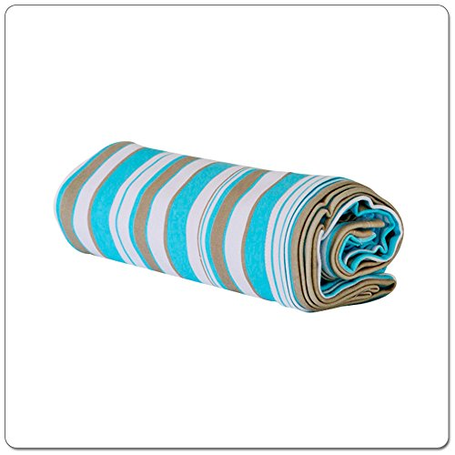 VANCHI Super-Sized Pure Cotton Knit Wrap, Swaddle Blanket - Aqua Stripe, Large