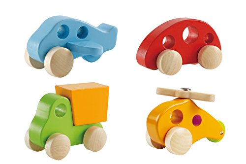 Hape-Wooden-Toy-Vehicles-Early-Explorer-4-Piece-Set-Includes-Little-Copter-Dump-Truck-Plane-and-Mini-Van