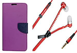 Novo Style Book Style Folio Wallet Case Sony Xperia C5 Purple + Zipper Earphones/Hands free With Mic 3.5mm jack