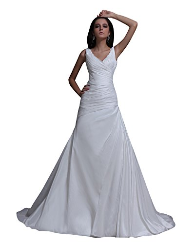 0c3e63a7e399 Vampal Chic Ivory V Neck Ruched Bodice Taffeta Dress For Beach Wedding 2  Ivory