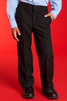 Boys' Flat Front Trousers With Adjustable Waist