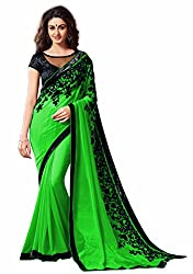 Women's Exclusive Green Embroidery Work Georgette Sari with Blouse