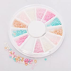 EVERMARKET 6 Colors Nail Art Nailart Half Round Pearl Beads Rhinestones Tips Manicure 3D Decoration Wheel