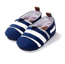 NEW Handsome Gentleman Newborn Baby Infant Toddler Kids Prewalker Shoes Boy Crib Bebe Soft Soled Striped Canvas Loafer Footwear (1 US Size, Navy-White)